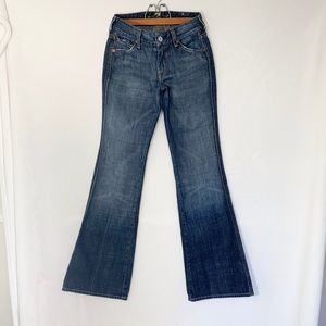 "7 For All Mankind Pink ""A"" Pocket Flare Jeans"